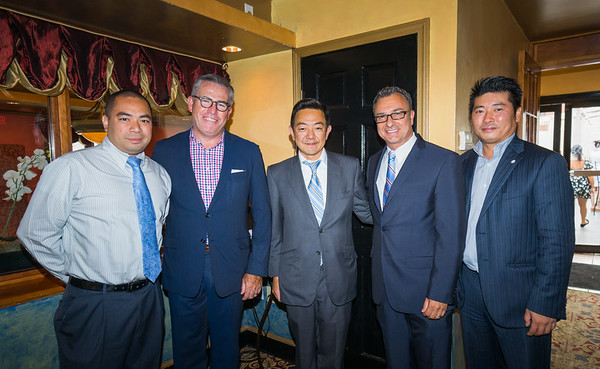 From the left, Robert Soohoo, Michael Vaughn, Kelly Soto, Councilor Sal LaMattina and James Chin