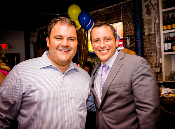 Rep. Aaron Michlewitz congratulates Philip Frattaroli on Ducali's 5th Anniversary