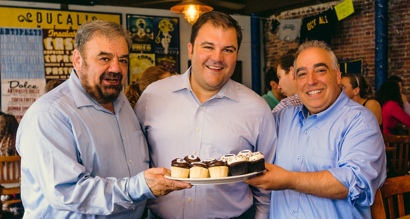 Filippo, Philip and Matt with the anniversary cupcakes