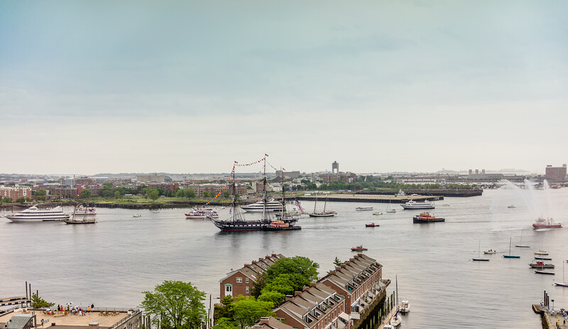 USS Constitution off the North End waterfront on its July 4th 2014 Turnaround in Boston Harbor