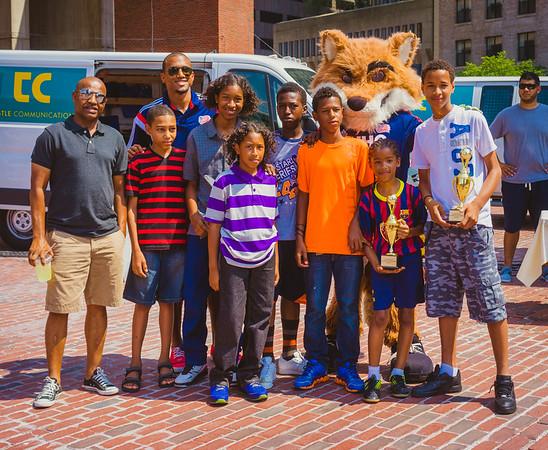 Winning Boston youth soccer team