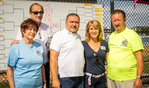 Karyn Polito stopped by the bocce tourney, greeted here by host Donato Frattaroli and friends
