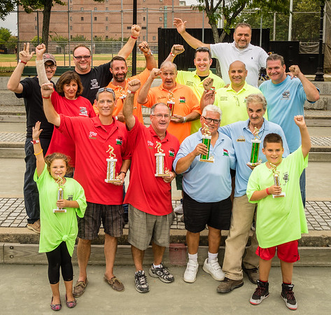 TONE Bocce Tournament organizers and finalists with their trophies