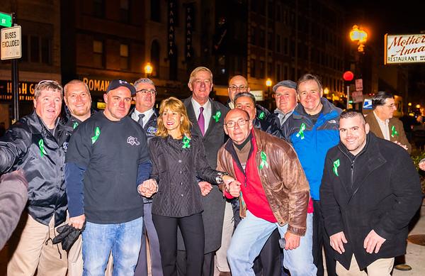 Crowding around Lt. Gov. candidate Karyn Polito and Fmr. Gov. William Weld