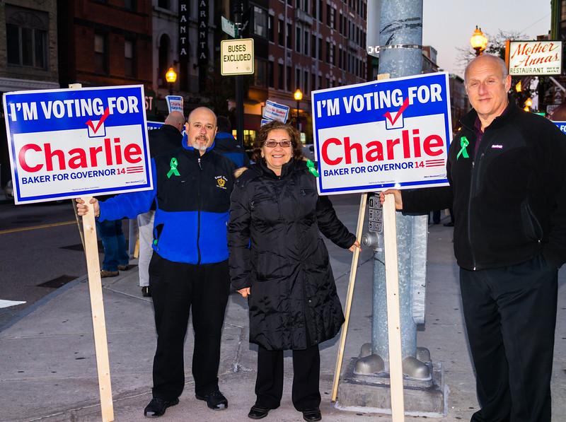 Charlie Baker supporters on Hanover Street