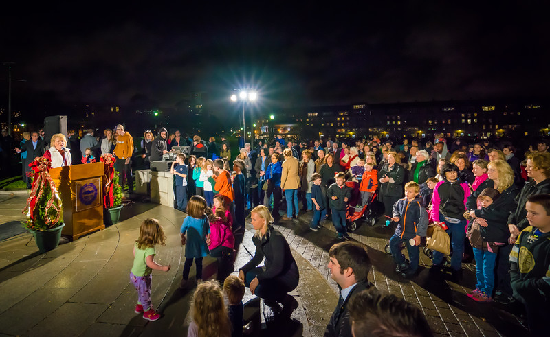 A large crowd with kids of all ages came out for the trellis lighting
