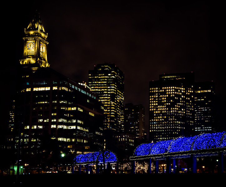 Iconic blue and white lights at the trellis lighting at Christopher Columbus Park with the Custom House tower.
