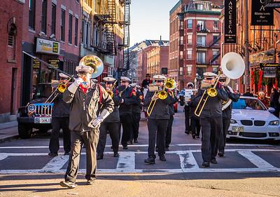 Boston Firemans Band crosses Hanover Street