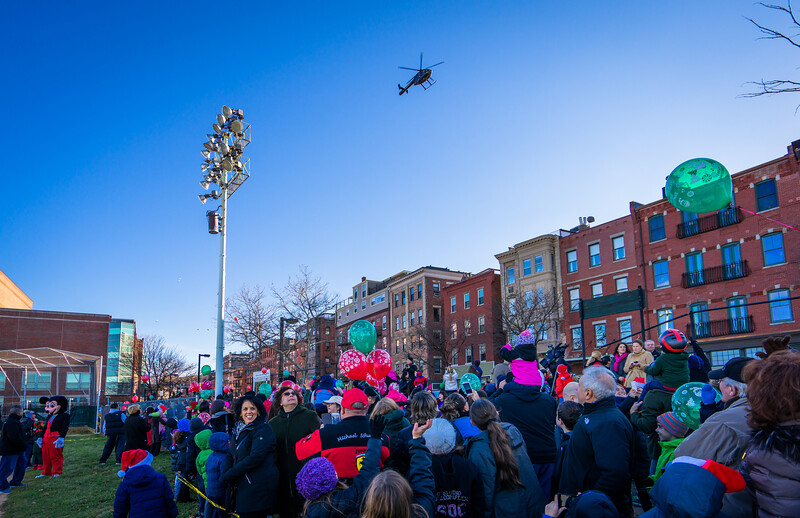 Santa's helicopter circles the North End