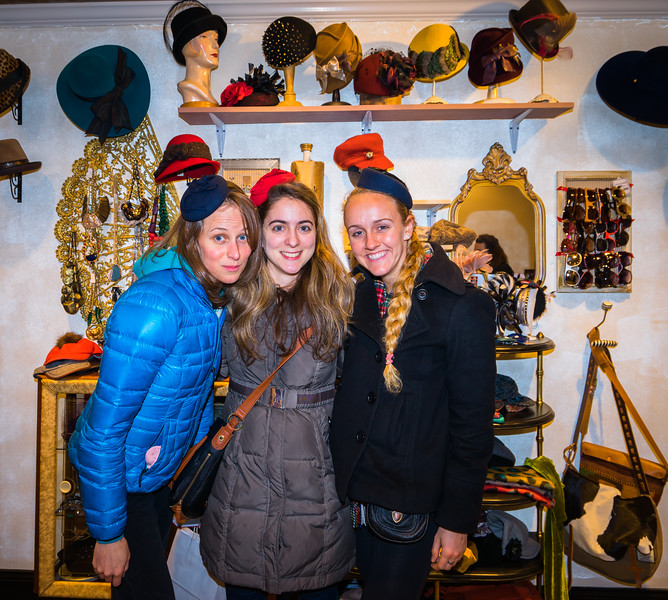 Fun with hats at Salmagundi on Salem Street