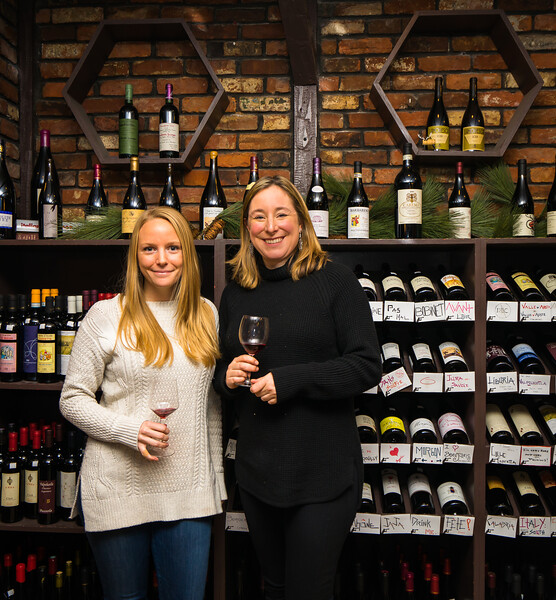 Always a glass ready at The Wine Bottega with (L-R) Katie and owner Kerri Platt