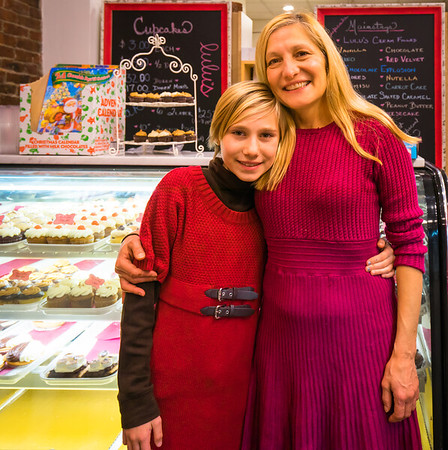 Owner Sandy Russo with Sydney at Lulu's Sweet Shoppe