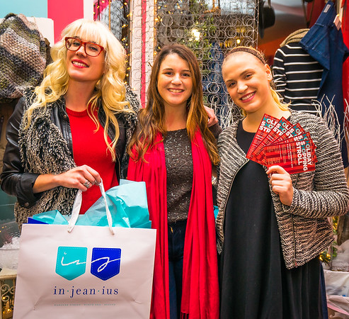 From the left, Nora, Megan and Ellie at in-jean-ius