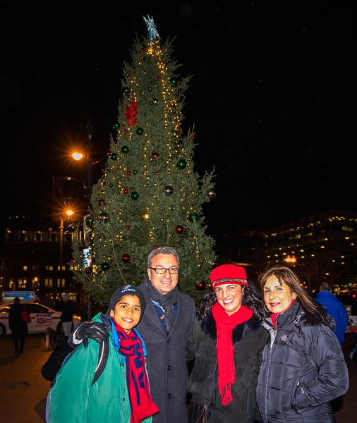 At the Cross Street Tree Lighting, from the left, Daniel Scibelli, Councilor Sal LaMattina, Pasqua Scibelli and Kathy Carangelo