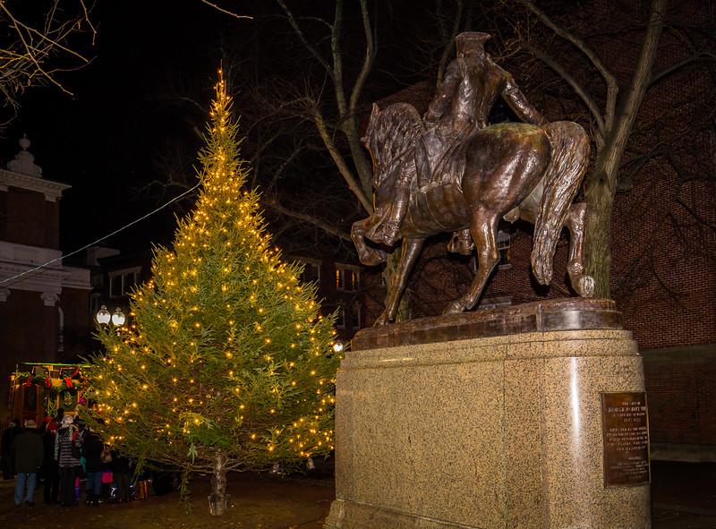 Prado tree in front of the Paul Reveve Statue