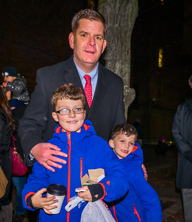 Mayor Marty Walsh with the Merenghi kids