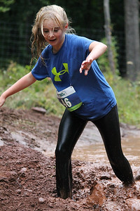 Kate Troutman gets caught in the final mud pit.