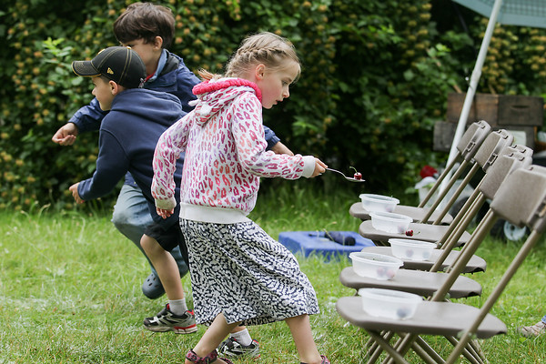 Record-Eagle/Keith King<br /> Eleanor Baker, 7, of Traverse City, participates in a race involving the balancing of artificial cherries on spoons at Hannah Park as part of the Heritage Day Old Fashioned Picnic during the National Cherry Festival.