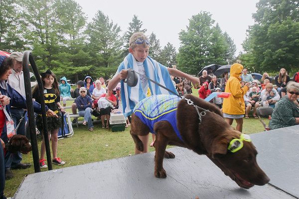 "Record-Eagle/Keith King<br /> Jack Haueisen, 11, of Traverse City, walks onto the stage with his family's chocolate lab, Coco, as they participate with the theme ""Beach Goers"" during the National Cherry Festival Kids' Pet Show at F & M Park in Traverse City."
