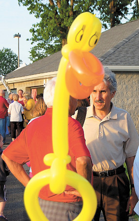 A balloon figure appears to give state Rep. Chris Sainato the eye. — Sam Luptak Jr.