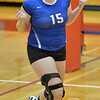 Wayne's Lexi Sokol reacts to the wining point in the fourth set against Norfolk Catholic Monday night in Norfolk during Conference Volleyball.<br /> Photo by Aaron Beckman