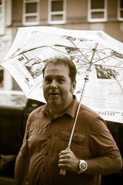 Street Scenes from the 2014 Summer Jazz Stroll - Using a recently found unbrella!