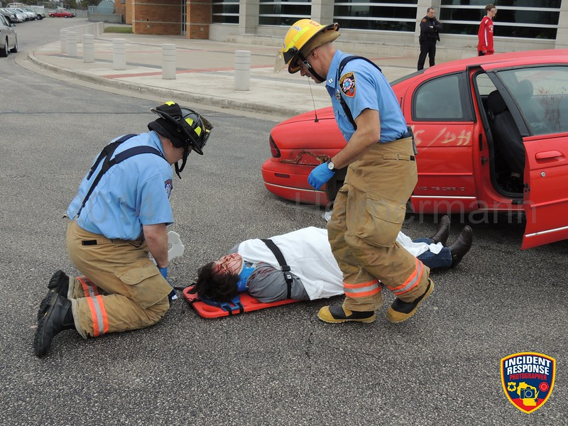 A mock crash was held outside Sheboygan South High School in Sheboygan, Wisconsin on Friday, May 2, 2014. Photo by Asher Heimermann/Incident Response.