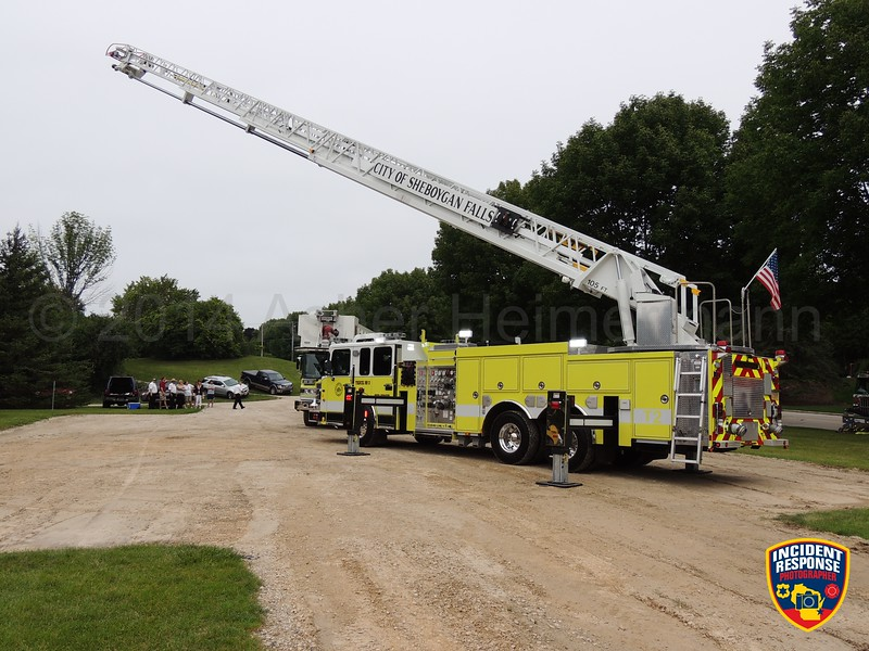 A wet-down ceremony was held for Kohler Fire Truck 1 and Sheboygan Falls Fire Truck 2 at Lost Woods Park in Kohler, Wisconsin on Saturday, August 23, 2014. Photo by Asher Heimermann/Incident Response.