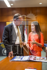 Senator Richard Burr presents Cailee Calabrese with honors for achieving her 3rd Level Gold President's Volunteer Award at the University of North Carolina at Pembroke on Friday, August 14th, 2014. Cailee_Calabrese_0022.CR2