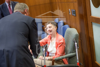 Senator Richard Burr presents Cailee Calabrese with honors for achieving her 3rd Level Gold President's Volunteer Award at the University of North Carolina at Pembroke on Friday, August 14th, 2014. Cailee_Calabrese_0066.CR2