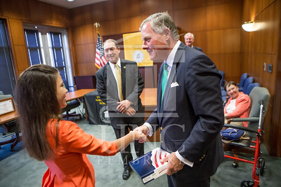 Senator Richard Burr presents Cailee Calabrese with honors for achieving her 3rd Level Gold President's Volunteer Award at the University of North Carolina at Pembroke on Friday, August 14th, 2014. Cailee_Calabrese_0060.CR2