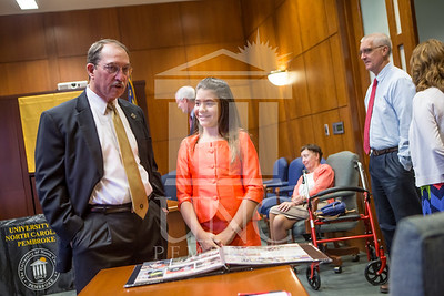Senator Richard Burr presents Cailee Calabrese with honors for achieving her 3rd Level Gold President's Volunteer Award at the University of North Carolina at Pembroke on Friday, August 14th, 2014. Cailee_Calabrese_0004.CR2