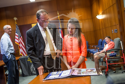 Senator Richard Burr presents Cailee Calabrese with honors for achieving her 3rd Level Gold President's Volunteer Award at the University of North Carolina at Pembroke on Friday, August 14th, 2014. Cailee_Calabrese_0012.CR2