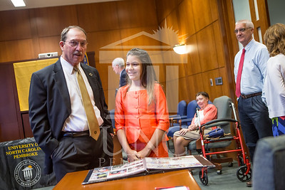 Senator Richard Burr presents Cailee Calabrese with honors for achieving her 3rd Level Gold President's Volunteer Award at the University of North Carolina at Pembroke on Friday, August 14th, 2014. Cailee_Calabrese_0005.CR2