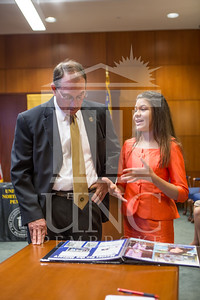Senator Richard Burr presents Cailee Calabrese with honors for achieving her 3rd Level Gold President's Volunteer Award at the University of North Carolina at Pembroke on Friday, August 14th, 2014. Cailee_Calabrese_0020.CR2