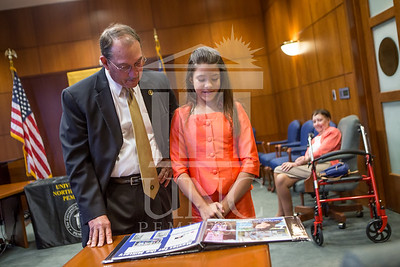 Senator Richard Burr presents Cailee Calabrese with honors for achieving her 3rd Level Gold President's Volunteer Award at the University of North Carolina at Pembroke on Friday, August 14th, 2014. Cailee_Calabrese_0011.CR2