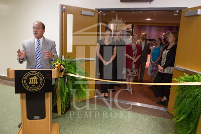 The University of North Carolina at Pembroke holds a Ribbon-Cutting Ceremony for the renovations to the Moore Hall Auditorium on Tuesday, August 26th, 2014. Moore_Hall_Auditorium_Ribbon_0015.JPG