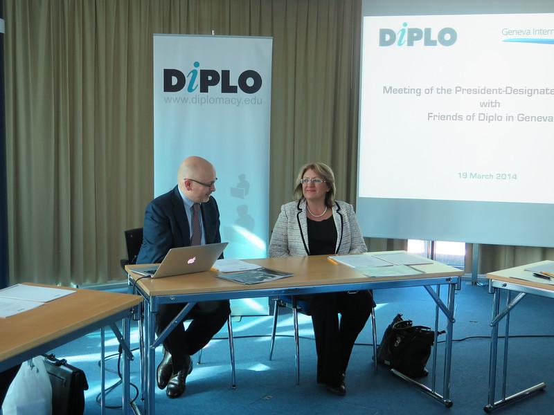 Dr Marie-Louise Coleiro Preca, the President-Designate of Malta, and Dr Jovan Kurbalija, director of DiploFoundation