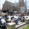 Motorcycles lined the western half of Kennedy Square, while three lines filled the section of West Washington Street between Family Worship Center and the New Castle Community Y.