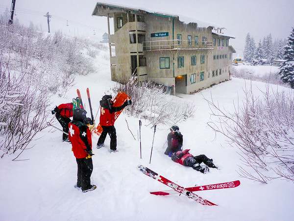 Practicing backboarding for OEC in the snow