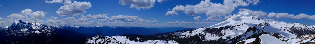 Summit view toward Shucksan, the north cascades, and Mt Baker.