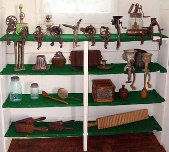 A few old time kitchen gadgets on display in the Green School.