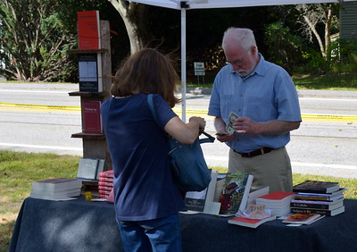 Author Glenn Cheney brought his books.