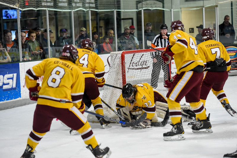 Kyle Williams (26, and out of the photo), shot the puck past the heavily defended Wolverines goal to pick up another point.