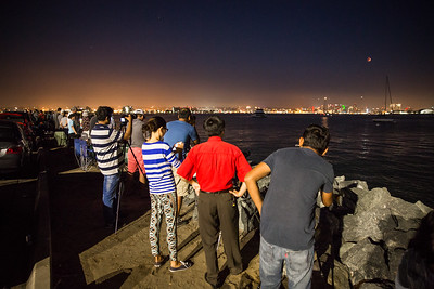 Photographers and onlookers view lunar eclipse from Shelter Island Sept. 27, 2015.