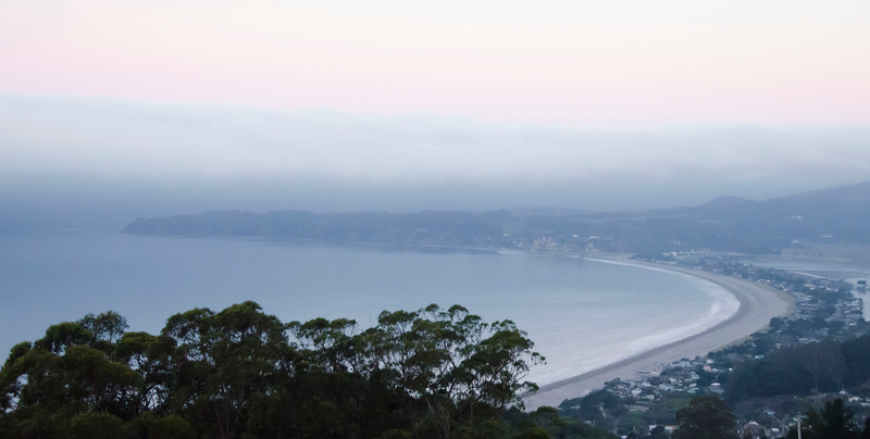 Stinson Beach at first light from Panoramic Highway.