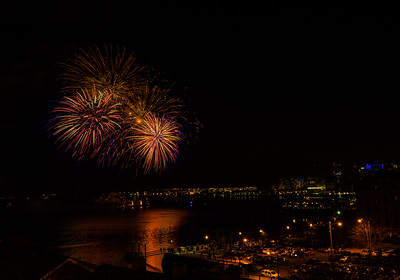 Boston Harbor aglow with New Year's 2015 Fireworks