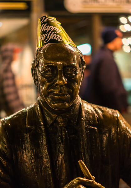 Red Auerbach was in the New Year's spirit at Faneuil Hall