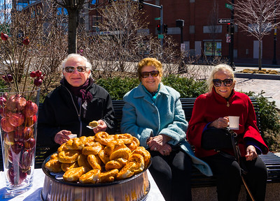 North End locals enjoy the reception to celebrate the Abstract Sculpture