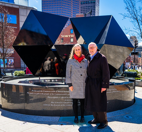 In front of the 2015 configuration of the Abstract Sculpture on the Greenway, Julie Burros, Boston Chief of Arts & Culture with architect Donald Tellalian